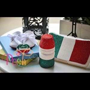 Red, White, and Green Rhinestone Baby Keepsake Set